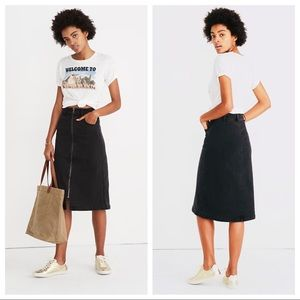 Denim Zip Midi Skirt in Lunar Wash